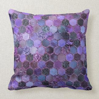 Luxury Purple Metal Foil Glitter honeycomb pattern Throw Pillow