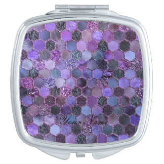 Luxury Purple Metal Foil Glitter honeycomb pattern Travel Mirrors