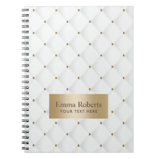 Luxury Quilted Moden Gold & White Notebooks
