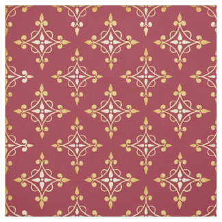 Luxury Red and Gold Quatre Floral Damask Fabric
