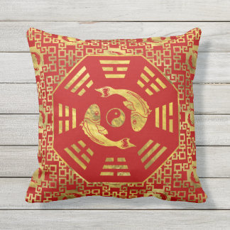Luxury  Red on gold Pair of Koi Fish in Bagua Throw Pillow