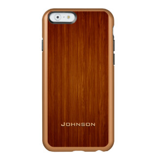 Luxury Red Rosewood Plank with Custom Name Incipio Feather® Shine iPhone 6 Case