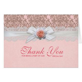 Luxury Rose Ribbon Delicate Damask Thank you card