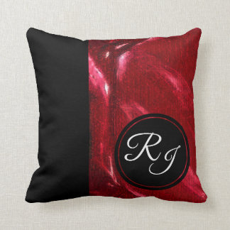 Luxury Ruby & Black Initial Monogram Plus Throw Pillow