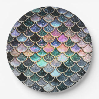 Luxury silver Glitter Mermaid Scales 9 Inch Paper Plate