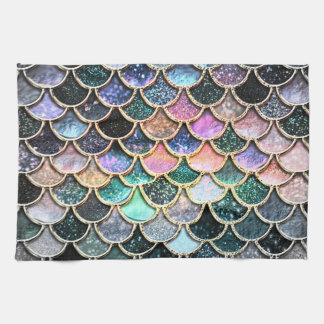 Luxury silver Glitter Mermaid Scales Kitchen Towels