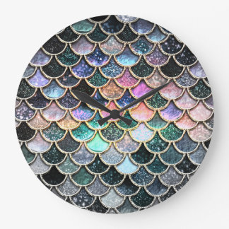 Luxury silver Glitter Mermaid Scales Large Clock