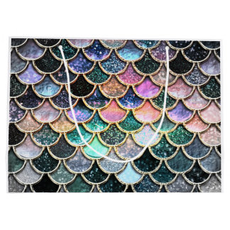 Luxury silver Glitter Mermaid Scales Large Gift Bag