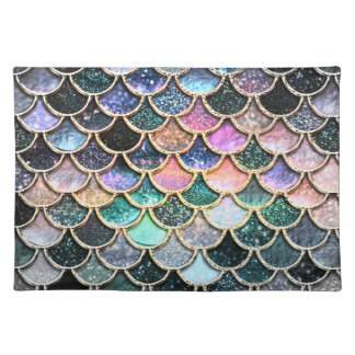 Luxury silver Glitter Mermaid Scales Placemat