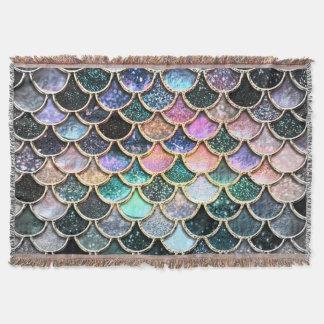Luxury silver Glitter Mermaid Scales Throw