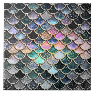 Luxury silver Glitter Mermaid Scales Tile