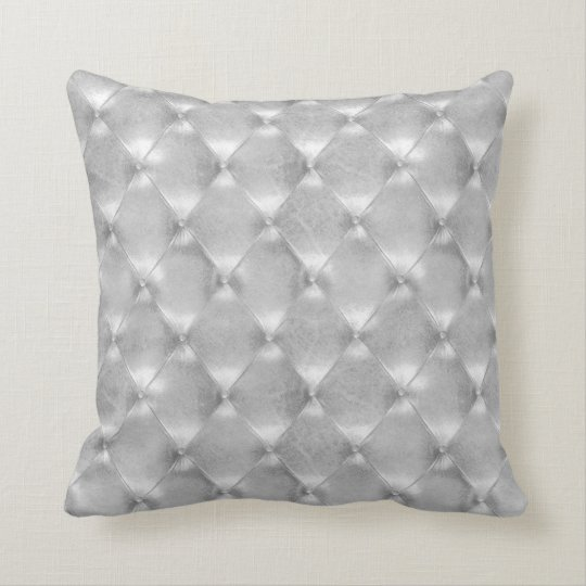 Luxury Silver Grey Tufted Leather Opulent Glam Throw Pillow