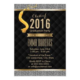 Luxury Silver Sequin Border Modern Graduation Card