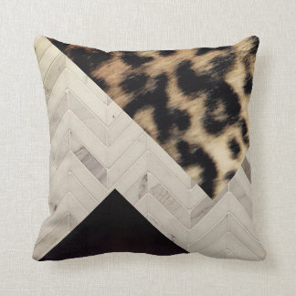 Luxury Stone & Wood Leopard Statement Pillow