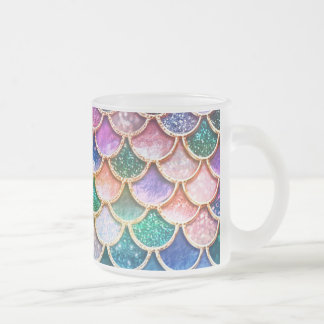 Luxury summerly multicolor Glitter Mermaid Scales Frosted Glass Coffee Mug