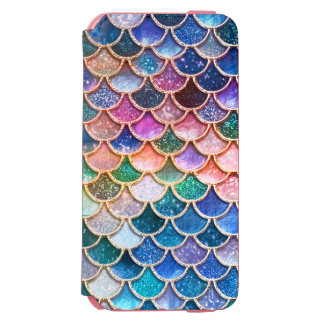 Luxury summerly multicolor Glitter Mermaid Scales Incipio Watson™ iPhone 6 Wallet Case