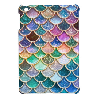 Luxury summerly multicolor Glitter Mermaid Scales iPad Mini Cover