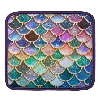 Luxury summerly multicolor Glitter Mermaid Scales iPad Sleeve
