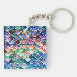 Luxury summerly multicolor Glitter Mermaid Scales Keychain