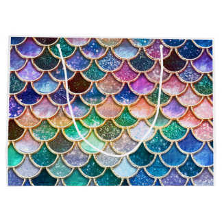 Luxury summerly multicolor Glitter Mermaid Scales Large Gift Bag