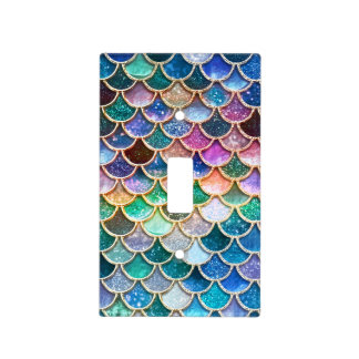 Luxury summerly multicolor Glitter Mermaid Scales Light Switch Cover