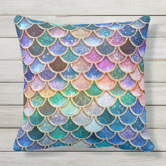 Luxury summerly multicolor Glitter Mermaid Scales Outdoor Pillow