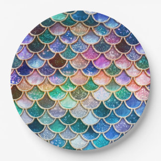 Luxury summerly multicolor Glitter Mermaid Scales Paper Plate