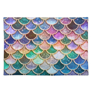 Luxury summerly multicolor Glitter Mermaid Scales Placemat