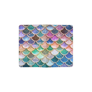 Luxury summerly multicolor Glitter Mermaid Scales Pocket Moleskine Notebook