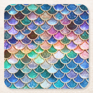 Luxury summerly multicolor Glitter Mermaid Scales Square Paper Coaster