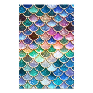 Luxury summerly multicolor Glitter Mermaid Scales Stationery