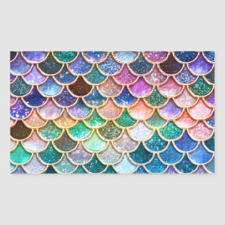 Luxury summerly multicolor Glitter Mermaid Scales Sticker