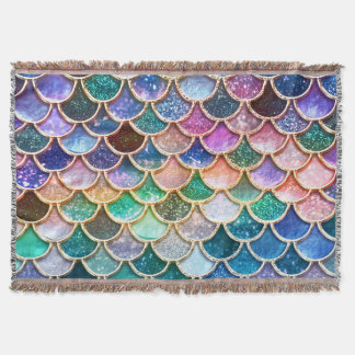 Luxury summerly multicolor Glitter Mermaid Scales Throw Blanket