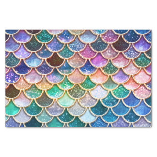 Luxury summerly multicolor Glitter Mermaid Scales Tissue Paper