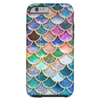 Luxury summerly multicolor Glitter Mermaid Scales Tough iPhone 6 Case