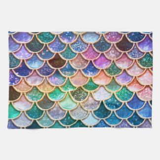 Luxury summerly multicolor Glitter Mermaid Scales Towels