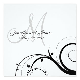 Luxury Swirl Monogram Wedding Invitations