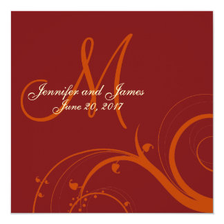 Luxury Swirl Orange Red Monogram Wedding Invitation