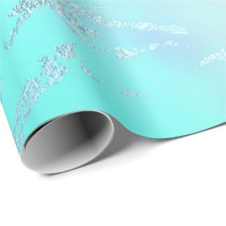 Luxury Tiffany Aqua Mint Blue Pastel Purple Marble Wrapping Paper