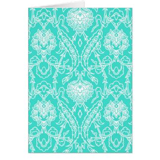 Luxury Turquoise & White Damask Decorative Pattern Card