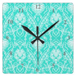 Luxury Turquoise & White Damask Decorative Pattern Wall Clock