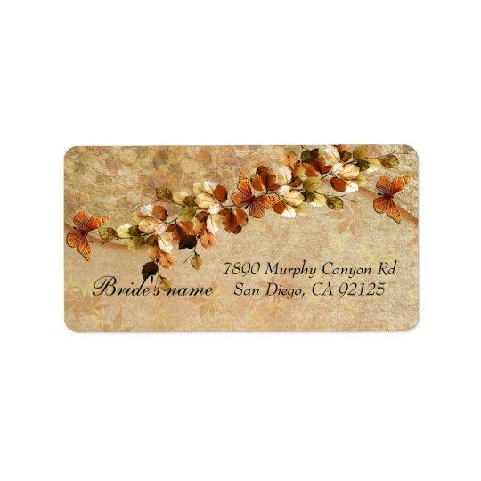 Luxury Vintage Autumn Leaf Address label