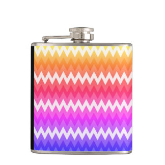 Luxury Vinyl Wrapped Flask : Rainbow zigzag