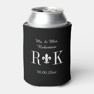 Luxury wedding monogram logo can coolers can cooler