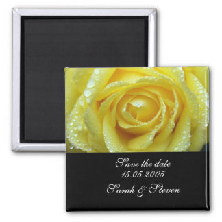 Luxury Wedding Yellow Rose Save the date Magnet