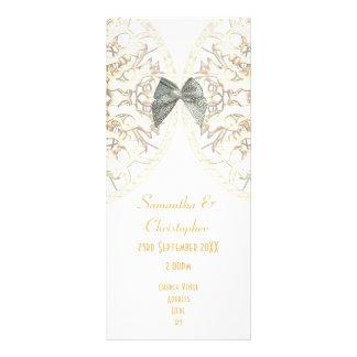 Luxury white lace damask church wedding program