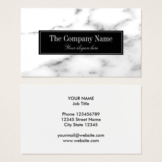 Luxury white marble stone business card template