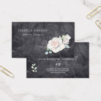 Luxury white rose leather home interior designer business card