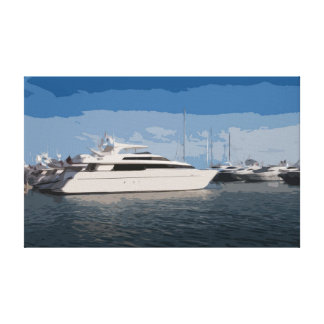Luxury Yacht on a Blue Sky Day Canvas