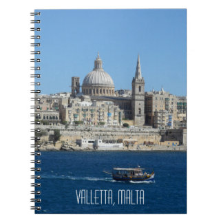 Luzzu Fishing Boat Valletta Harbour Malta Skyline Notebook